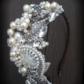 vintage pearl hairpiece tiara – Copy